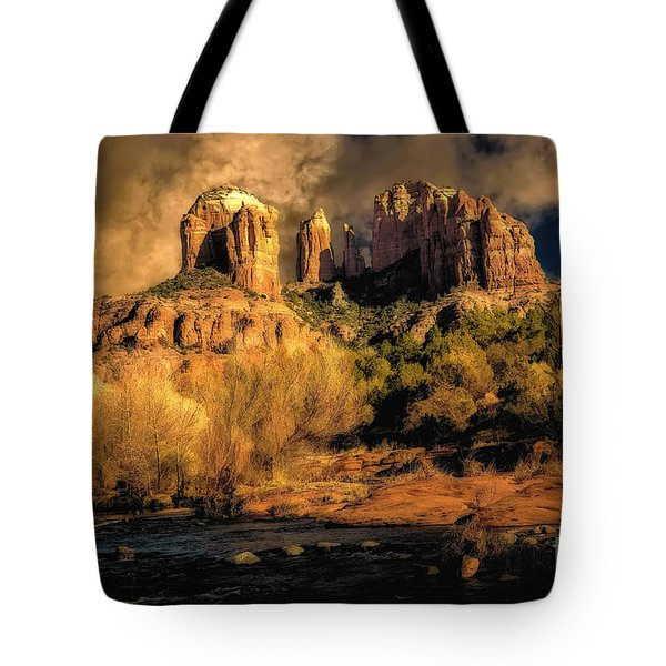 Cathedral Rock Before The Rains Came Tote Bag by Jon Burch Photography