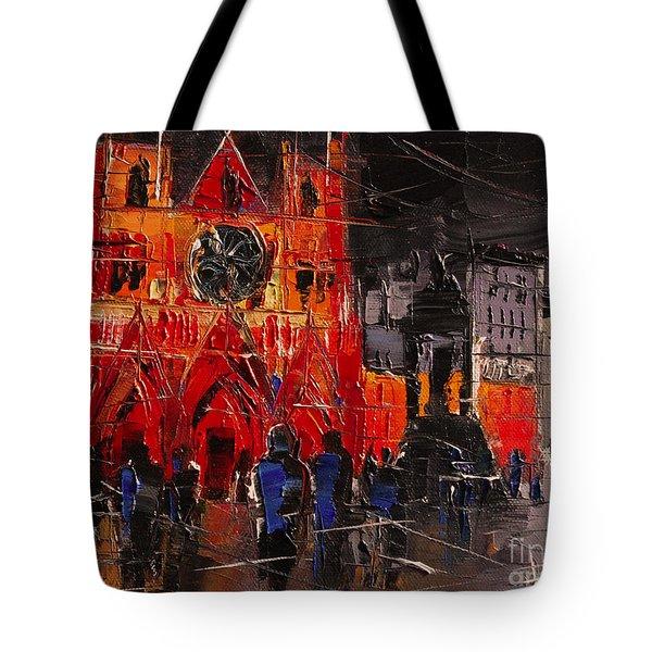 Cathedral Saint Jean-baptiste In Lyon Tote Bag by Mona Edulesco