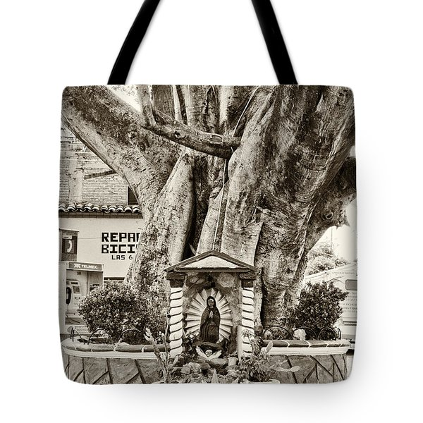 Tote Bag featuring the photograph Catholic Shrine - Our Lady Of Guadalupe, Mexico - Travel Photography By David Perry Lawrence by David Perry Lawrence