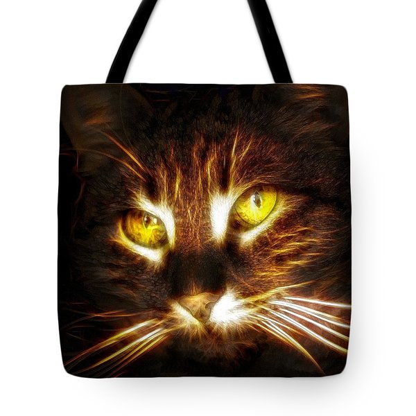Cat's Eyes - Fractal Tote Bag by Lilia D