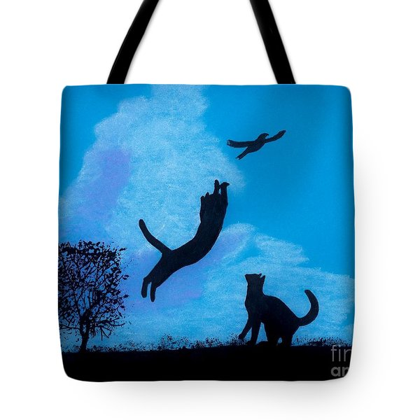 Tote Bag featuring the drawing Cats -  Playing by D Hackett