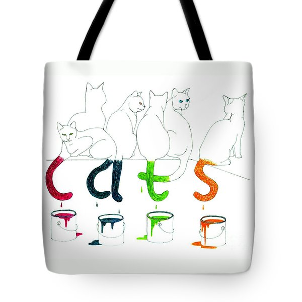 Cats With Paint Cans Tote Bag