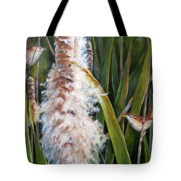 Cattails And Wrens Tote Bag by Mary McCullah