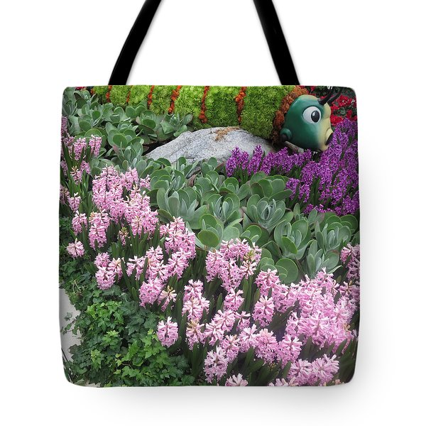 Tote Bag featuring the photograph Catterpillar Large Flower Garden Vegas by Navin Joshi