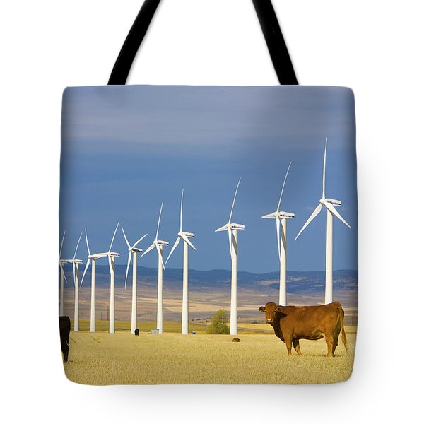 Cattle And Windmills In Alberta Canada Tote Bag