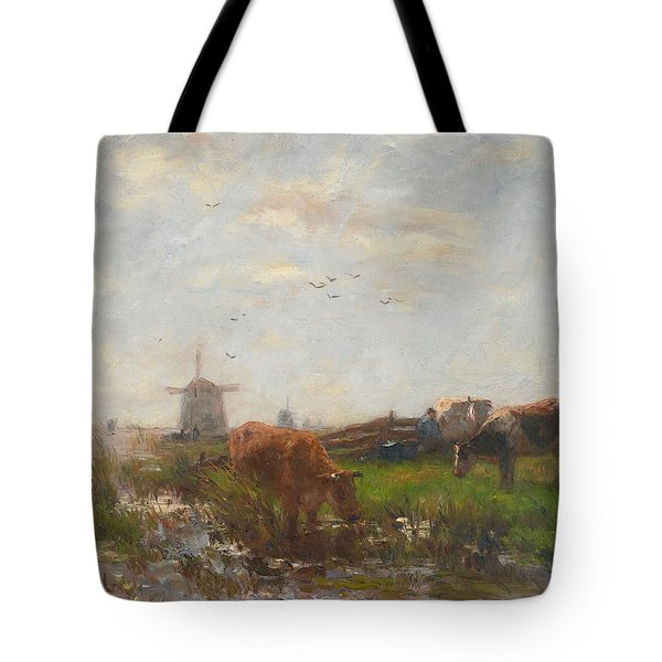 Cattle Grazing Tote Bag by Willem Maris