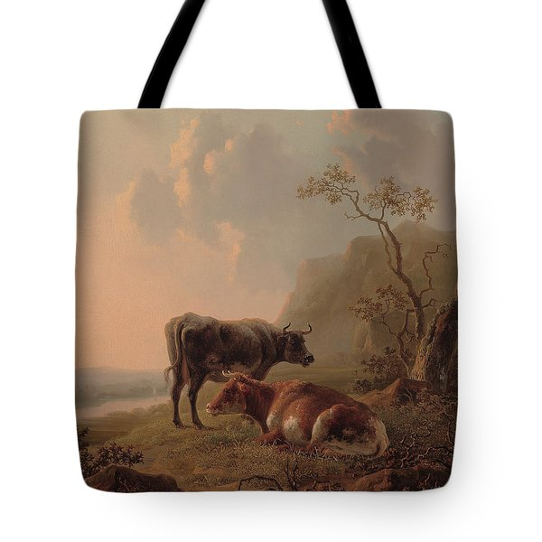 Cattle In An Italianate Landscape Tote Bag by Jacob van Strij