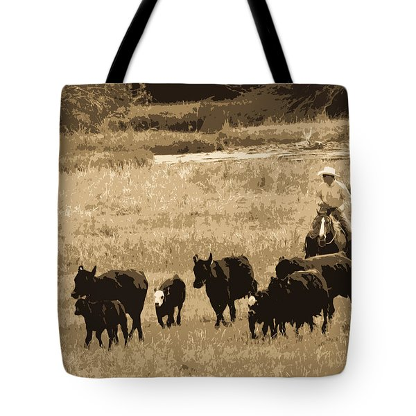 Cattle Round Up Sepia Tote Bag