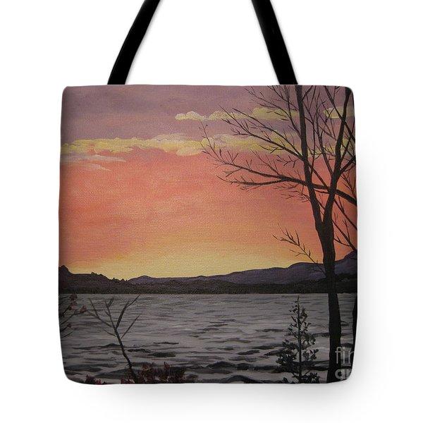 Caucomgomoc Lake Sunset In Maine Tote Bag