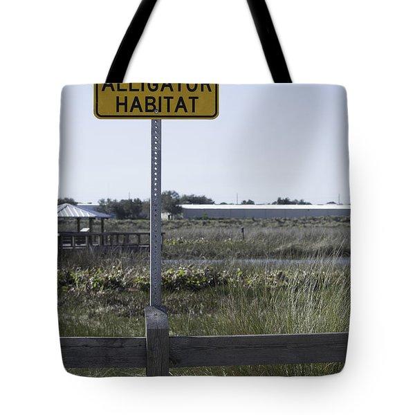 Caution Alligator Habitat Tote Bag