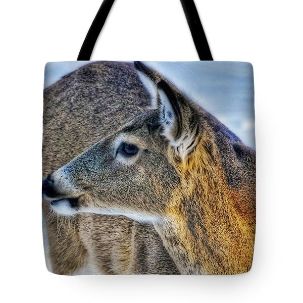 Tote Bag featuring the photograph Cautious Deer by Trey Foerster