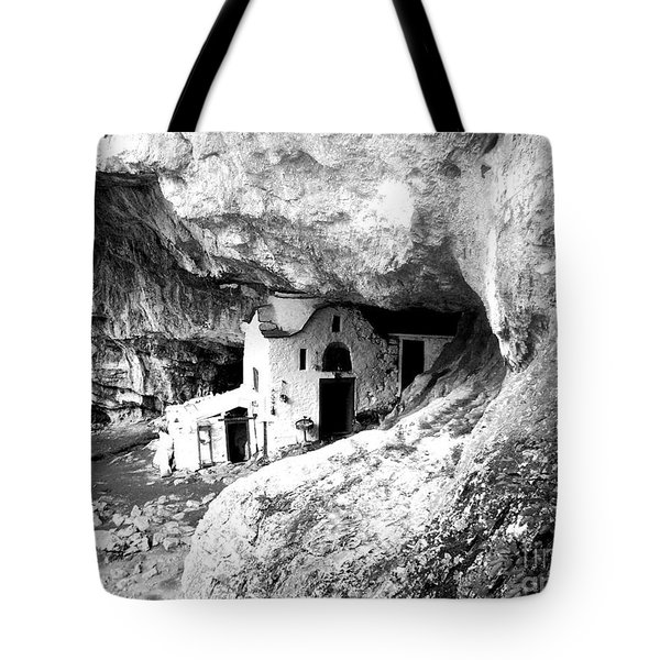 Tote Bag featuring the photograph cave church on Mt Olympus Greece by Nina Ficur Feenan