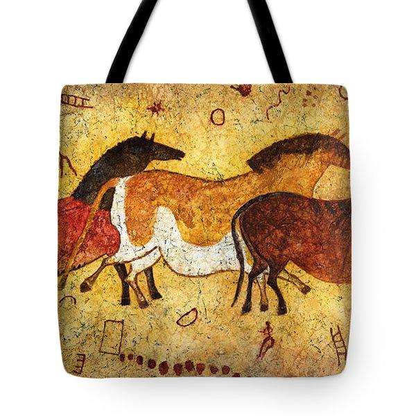Cave Horses Tote Bag