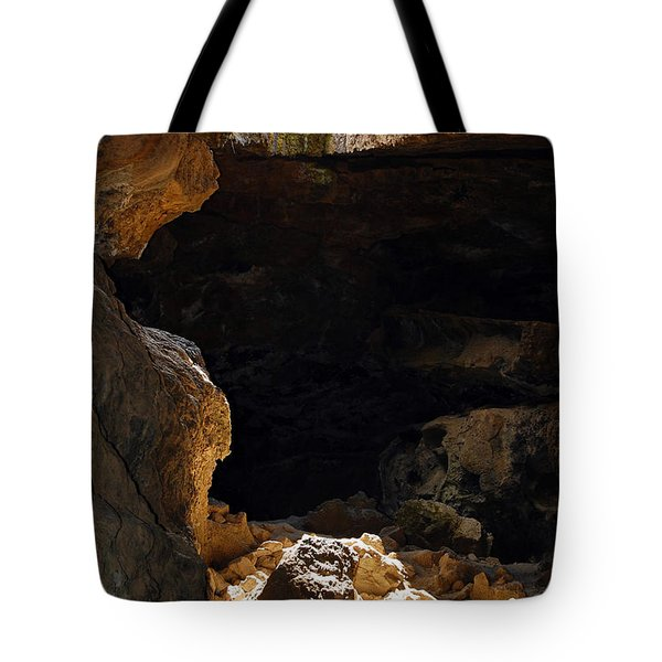 Tote Bag featuring the photograph Cave Light by Debra Thompson