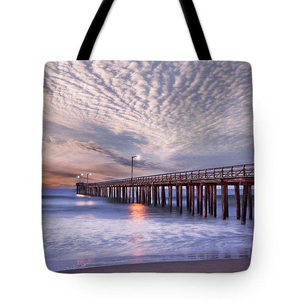 Cayucos Pier Tote Bag by Alice Cahill