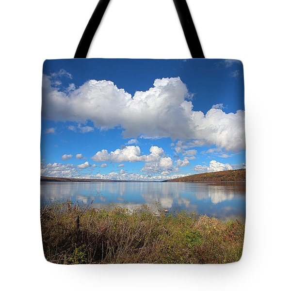 Tote Bag featuring the photograph Cayuga Lake In Colorful Fall Ithaca New York II by Paul Ge