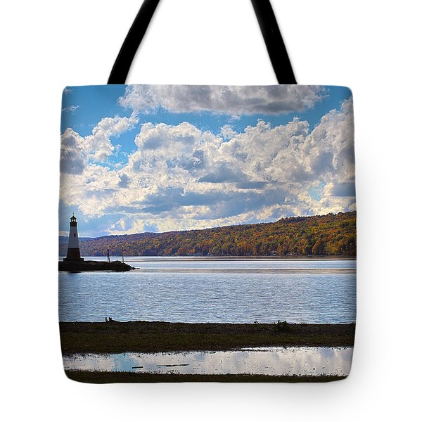 Tote Bag featuring the photograph Cayuga Lake In Colorful Fall Ithaca New York IIi by Paul Ge