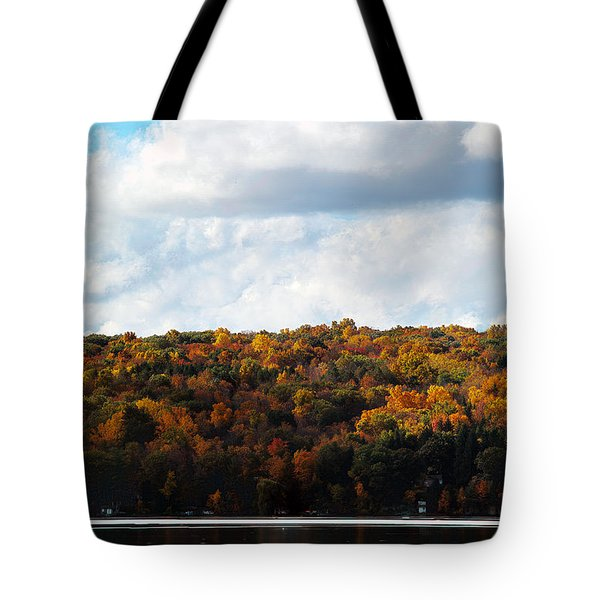 Tote Bag featuring the photograph Cayuga Lake In Colorful Fall Ithaca New York  by Paul Ge