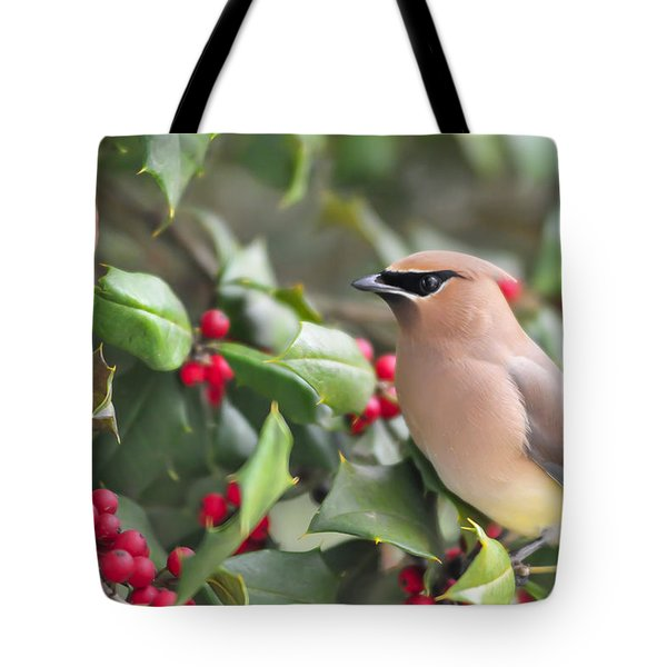 Cedar Waxwing In Holly Tree Tote Bag