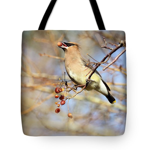 Cedar Waxwing Eating A Cherry Tote Bag