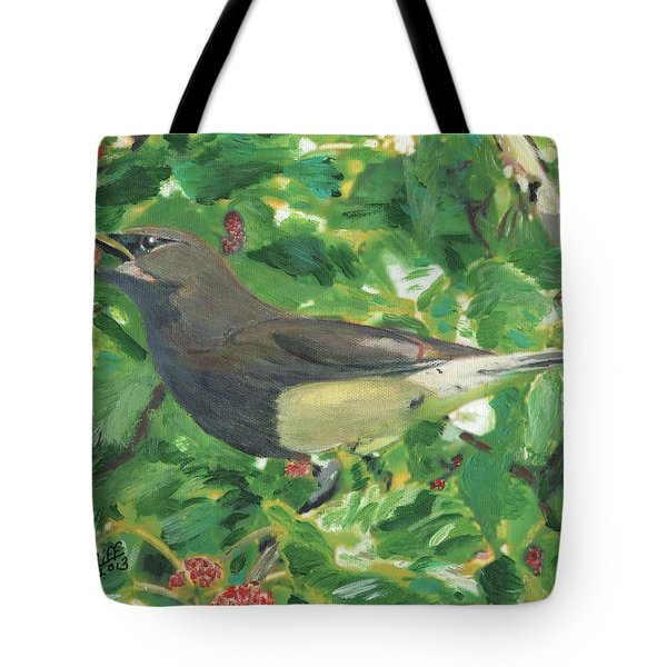Cedar Waxwing Eating Mulberry Tote Bag