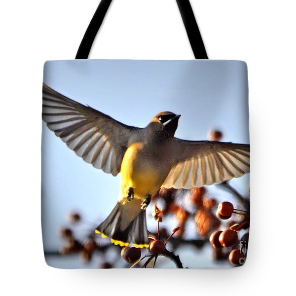 Cedar Waxwing Flight Tote Bag