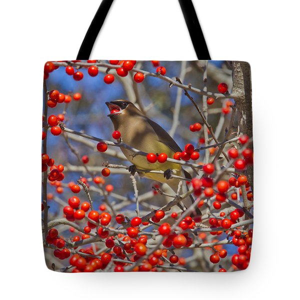 Cedar Waxwing In The Act Of Swallowing A Possumhaw Fruit Tote Bag