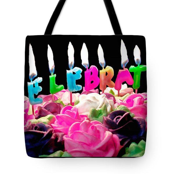 Tote Bag featuring the photograph Cake Topped With Flowers And Celebrate Candles by Vizual Studio