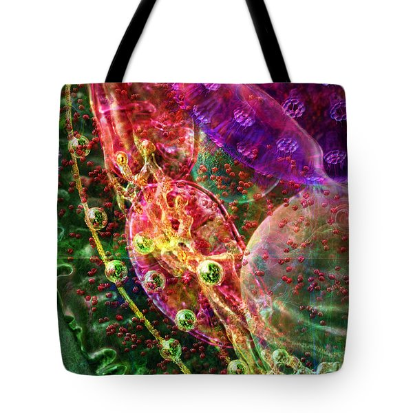Tote Bag featuring the digital art Cell Dreaming 8 by Russell Kightley
