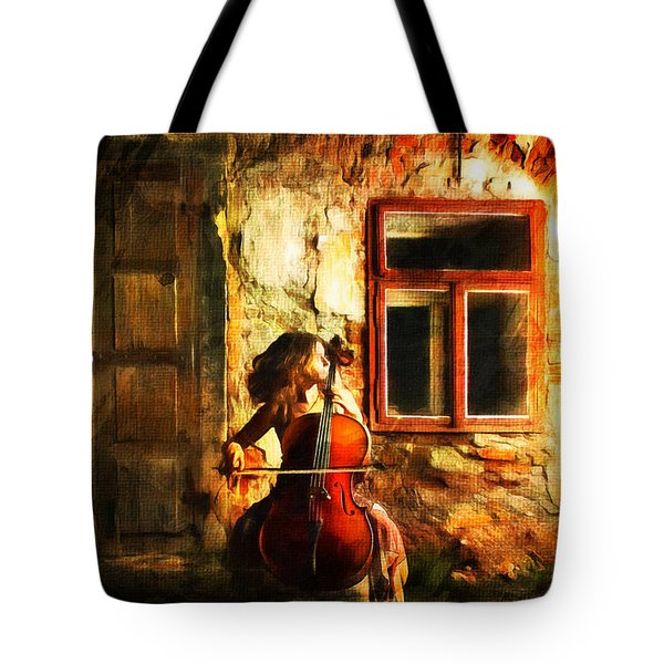 Cellist By Night Tote Bag