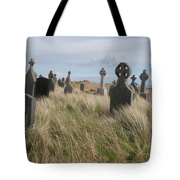 Tote Bag featuring the photograph Celtic Crosses Aran Island Cemetary by Melinda Saminski