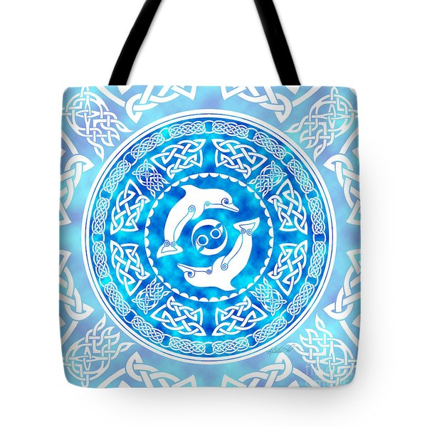 Tote Bag featuring the mixed media Celtic Dolphins by Kristen Fox