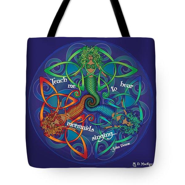 Celtic Mermaid Mandala Tote Bag
