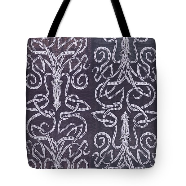Celtic Plum Kraken Tote Bag by CR Leyland