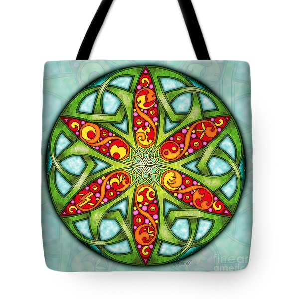Tote Bag featuring the mixed media Celtic Summer Mandala by Kristen Fox