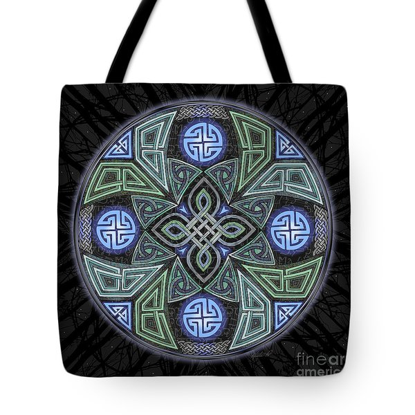 Tote Bag featuring the mixed media Celtic Ufo Mandala by Kristen Fox