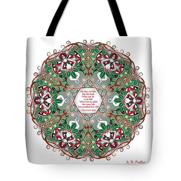 Celtic Winter Fairy Mandala Tote Bag