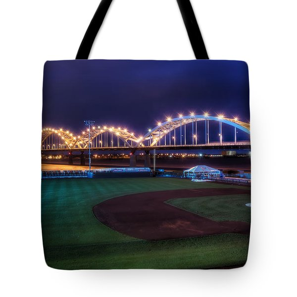 Centennial Bridge And Modern Woodmen Park Tote Bag