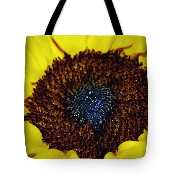 Center Of A Sunflower Tote Bag by Cynthia Guinn