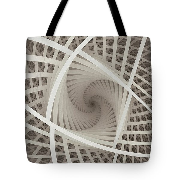 Centered White Spiral-fractal Art Tote Bag