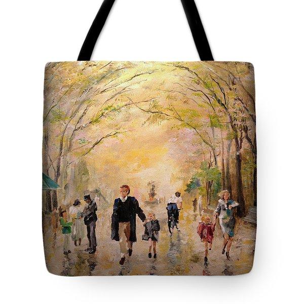 Tote Bag featuring the painting Central Park Early Spring by Alan Lakin
