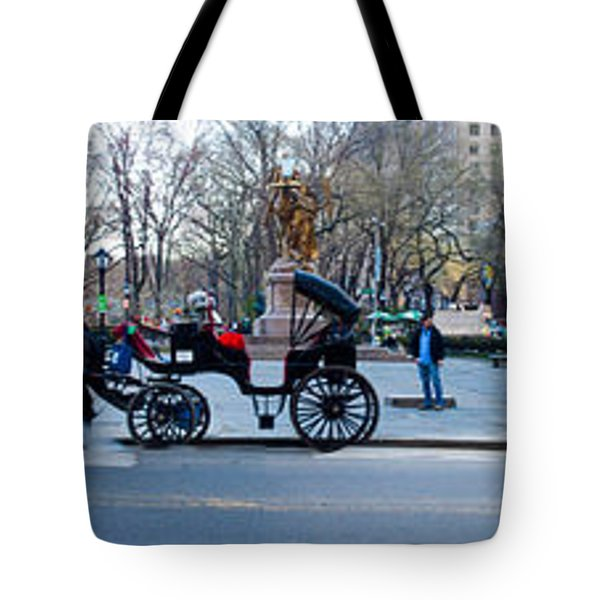 Central Park Horse Carriage Station Panorama Tote Bag