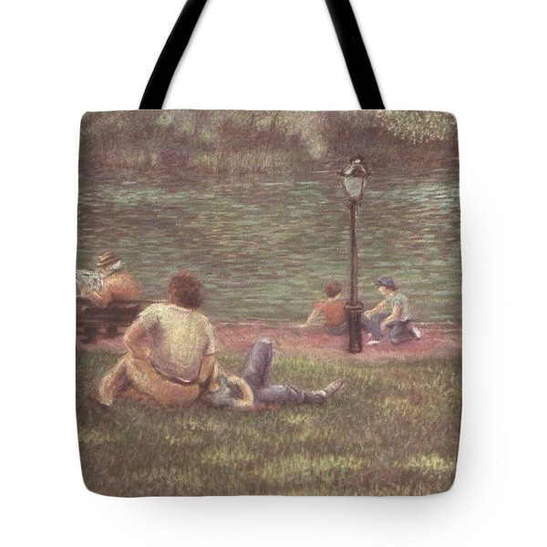 Tote Bag featuring the painting Central Park Nyc by Walter Casaravilla