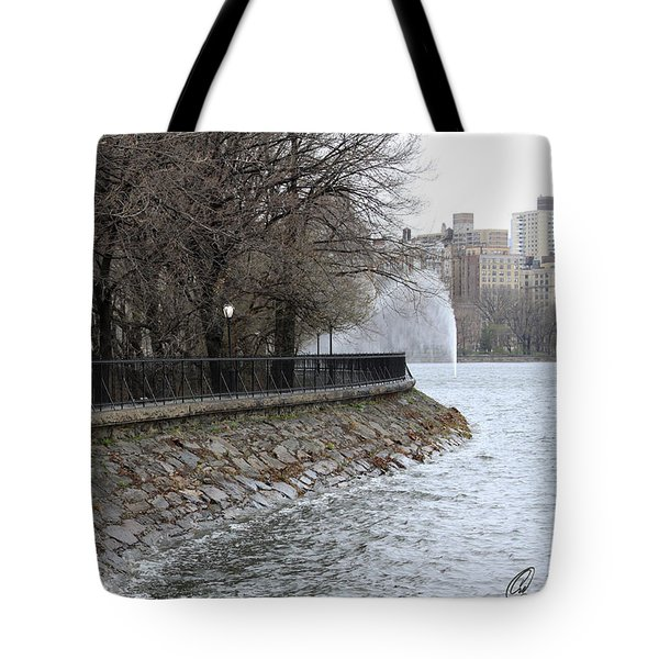 Tote Bag featuring the photograph Central Park Reservoir  Color by Chris Thomas