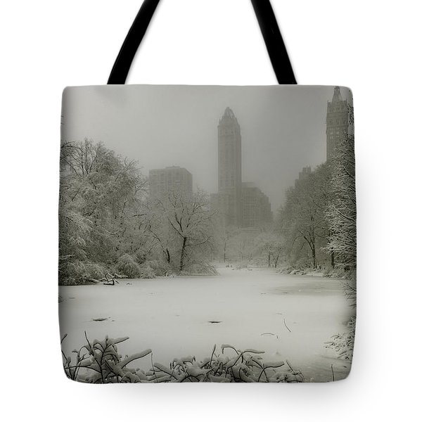 Tote Bag featuring the photograph Central Park Snowstorm by Chris Lord
