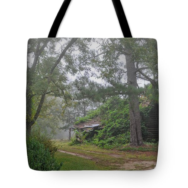 Tote Bag featuring the photograph Century-old Shed In The Fog - South Carolina by David Perry Lawrence