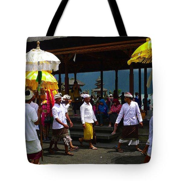 Ceremony At Lake Beratan Bali Tote Bag