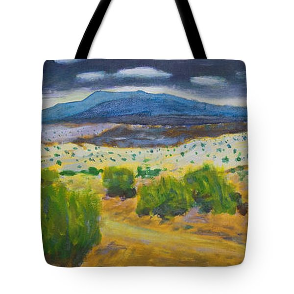 Tote Bag featuring the painting Cerrillos Spring by John Hansen