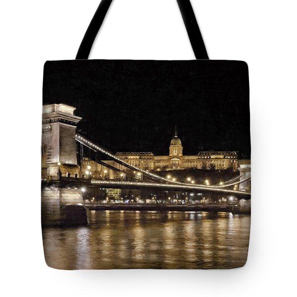 Chain Bridge And Buda Castle Winter Night Painterly Tote Bag