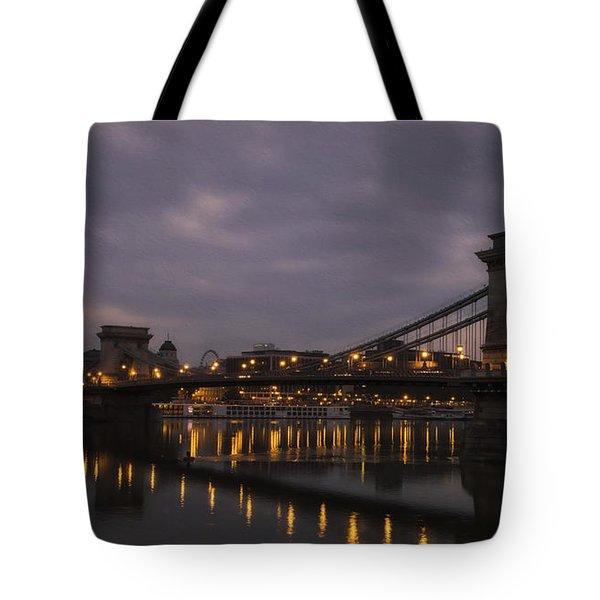 Chain Bridge Dawn Tote Bag